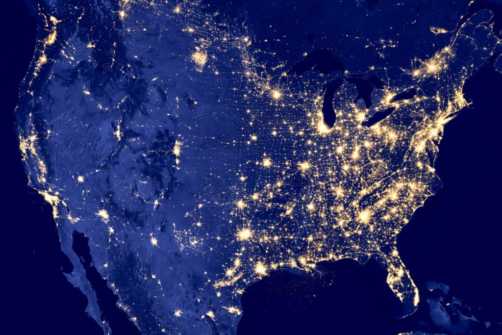 Satellite image of US at night